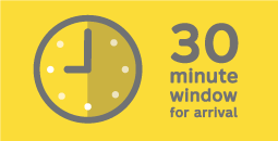 30 minute window for arrival